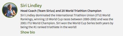 Siri Lindley - Two -Time Triathlon World Champion & Team Sirius Head Coach